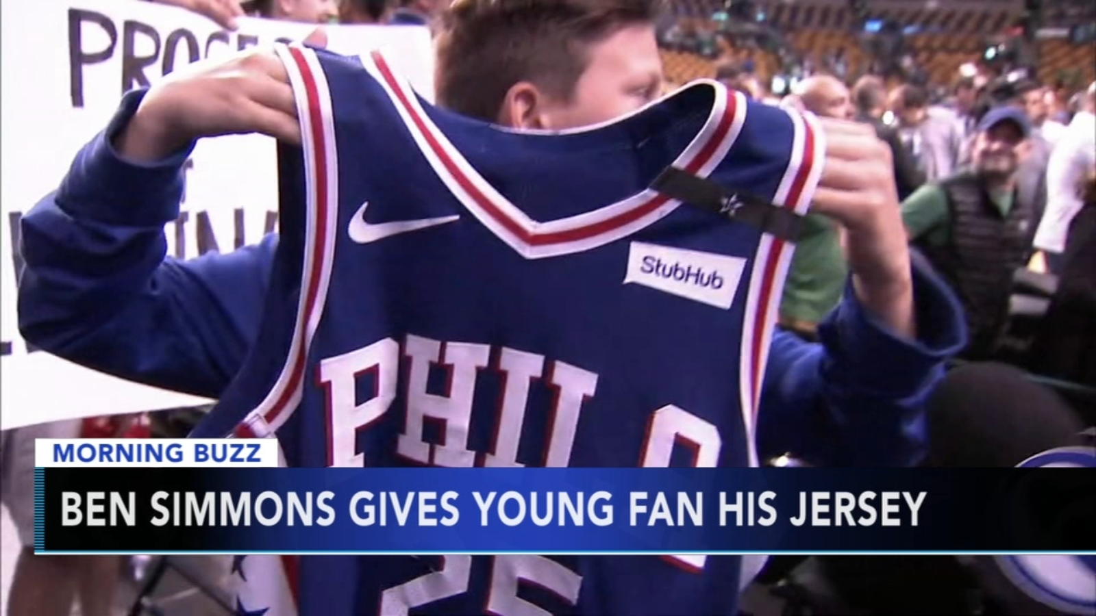 ab39ed909 Philadelphia 76ers forward Ben Simmons gives jersey to young fan after game  against Boston Celtics