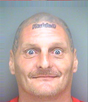 Crazy Mugshot Man With New England Patriots Memorabilia Tattooed