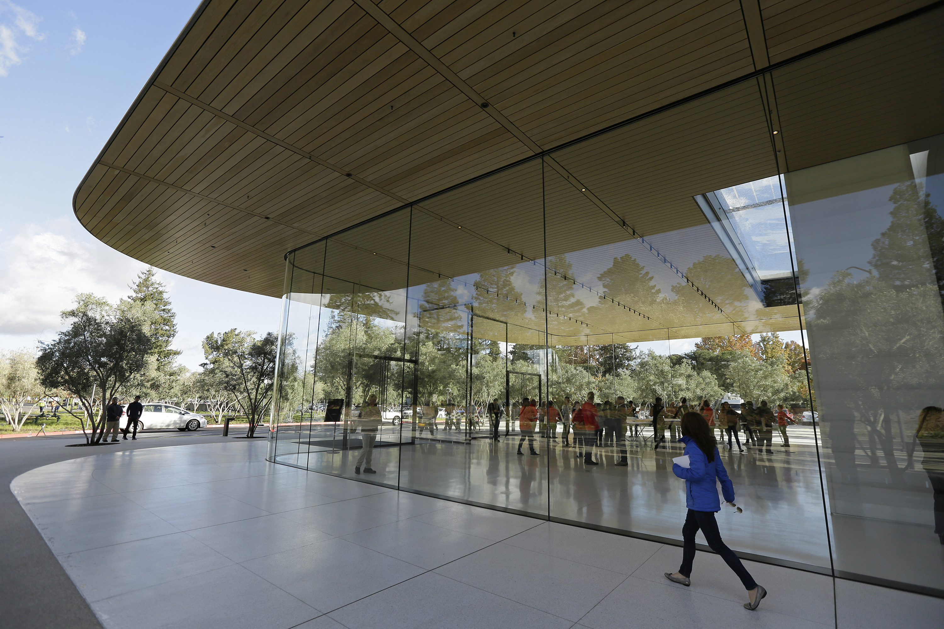 <div class='meta'><div class='origin-logo' data-origin='none'></div><span class='caption-text' data-credit='AP'>Shown is an exterior view of the Apple Park Visitor Center during its grand opening Friday, Nov. 17, 2017, in Cupertino, Calif. (AP Photo/Eric Risberg)</span></div>