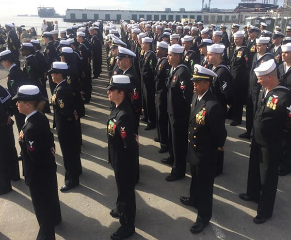 """<div class=""""meta image-caption""""><div class=""""origin-logo origin-image """"><span></span></div><span class=""""caption-text"""">Marines and sailors gather for a commissioning ceremony for the USS America in San Francisco, Calif. on Saturday October 11, 2014.</span></div>"""