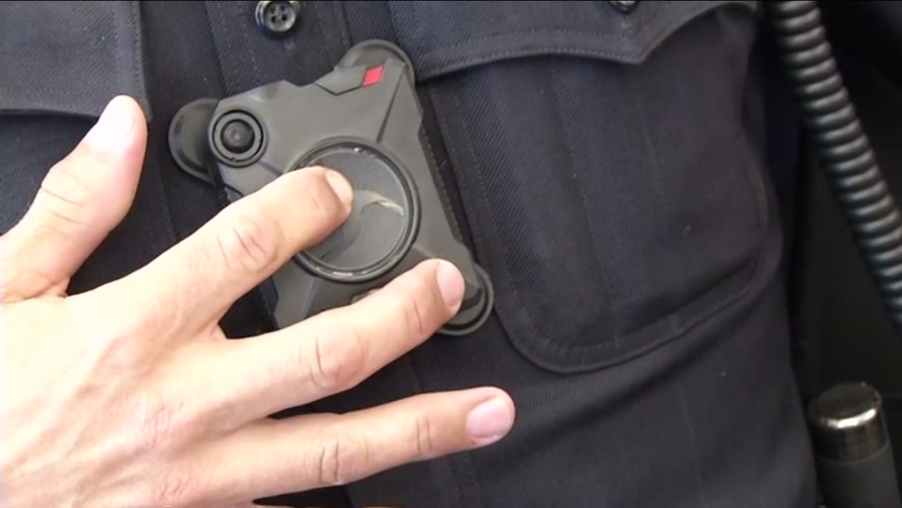 A police officer is seen wearing a body camera in this undated image.