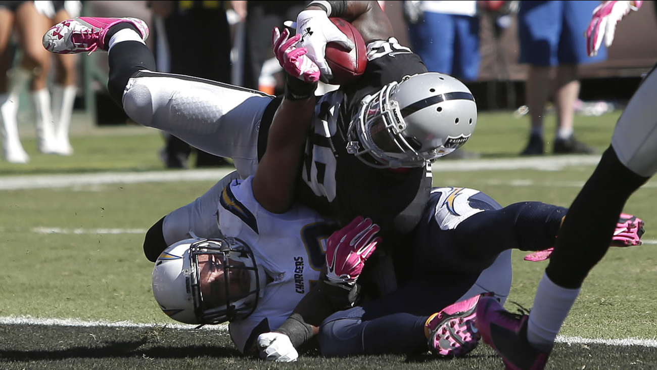 Raiders' James Jones, top, scores on a 6-yard touchdown reception over Chargers' Andrew Gachkar during a game in Oakland, Calif., on Oct. 12, 2014. (AP Photo/Marcio Jose Sanchez)