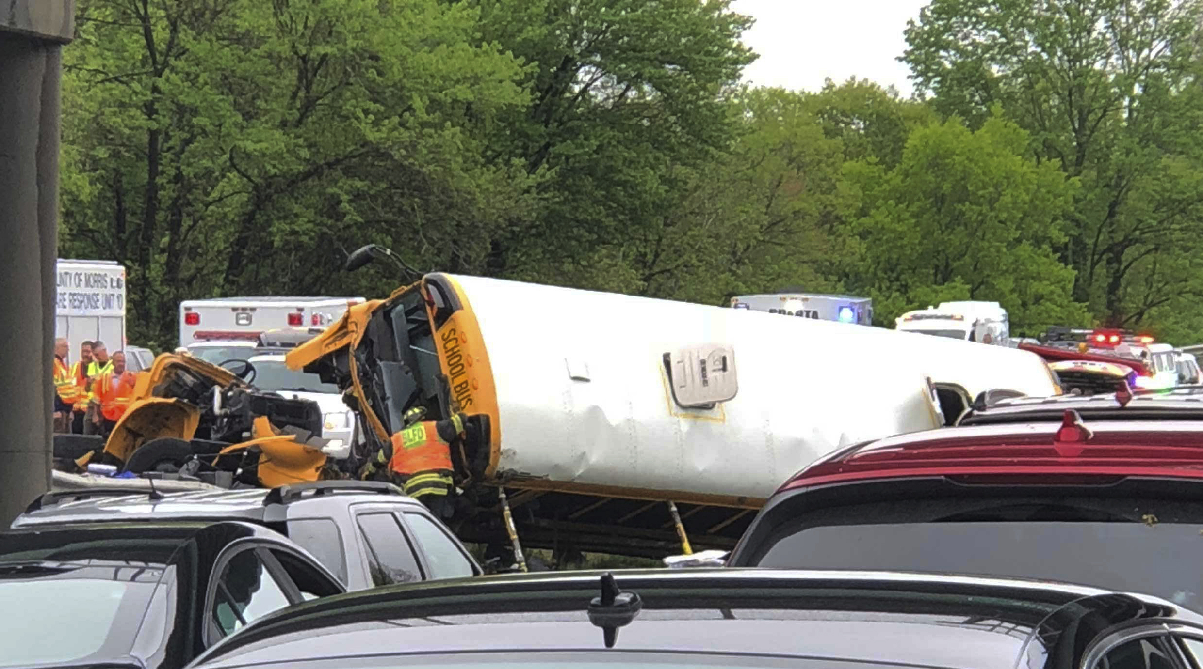 <div class='meta'><div class='origin-logo' data-origin='none'></div><span class='caption-text' data-credit='Manuel Absalon via AP'>Emergency personnel respond to a crash after a school bus and dump truck collided, injuring multiple people, on Interstate 80 in Mount Olive, N.J., Thursday, May 17, 2018.</span></div>