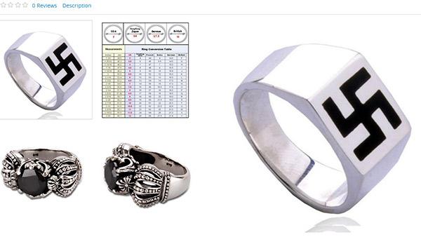 Sears lists swastika ring on website