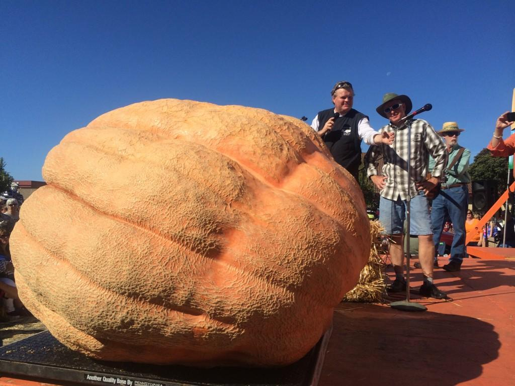 """<div class=""""meta image-caption""""><div class=""""origin-logo origin-image """"><span></span></div><span class=""""caption-text"""">Russ Pugh's pumpkin had a hole, so it was disqualified. But it weighed 1,828 pounds.</span></div>"""