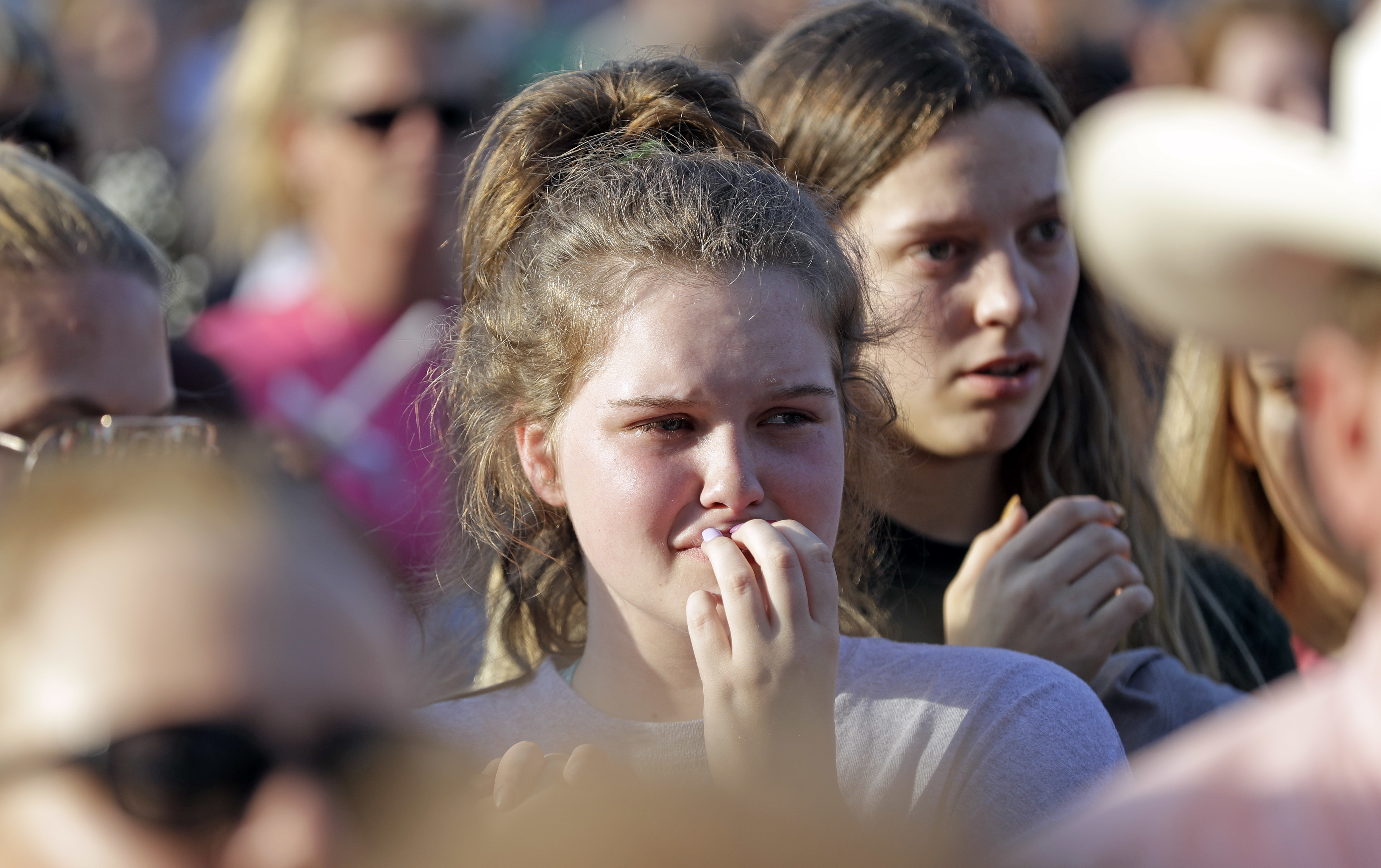 <div class='meta'><div class='origin-logo' data-origin='AP'></div><span class='caption-text' data-credit='AP'>Santa Fe High School sophomore Averi Gary listens during a prayer vigil following a shooting at Santa Fe High School. (AP Photo/David J. Phillip)</span></div>
