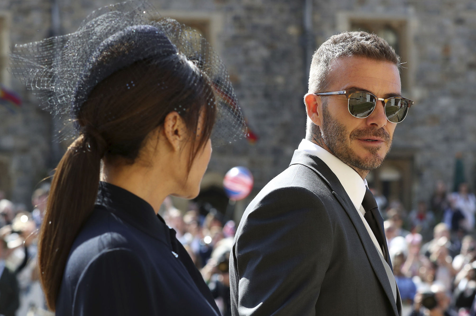 "<div class=""meta image-caption""><div class=""origin-logo origin-image ap""><span>AP</span></div><span class=""caption-text"">David Beckham and Victoria Beckham arrive for the wedding ceremony of Prince Harry and Meghan Markle at St. George's Chapel in Windsor Castle. (Gareth Fuller/pool photo via AP)</span></div>"