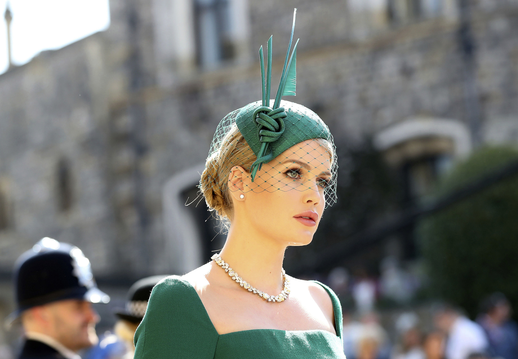 "<div class=""meta image-caption""><div class=""origin-logo origin-image ap""><span>AP</span></div><span class=""caption-text"">Lady Kitty Spencer arrives at St George's Chapel at Windsor Castle for the wedding of Meghan Markle and Prince Harry. (Gareth Fuller/PA Wire)</span></div>"