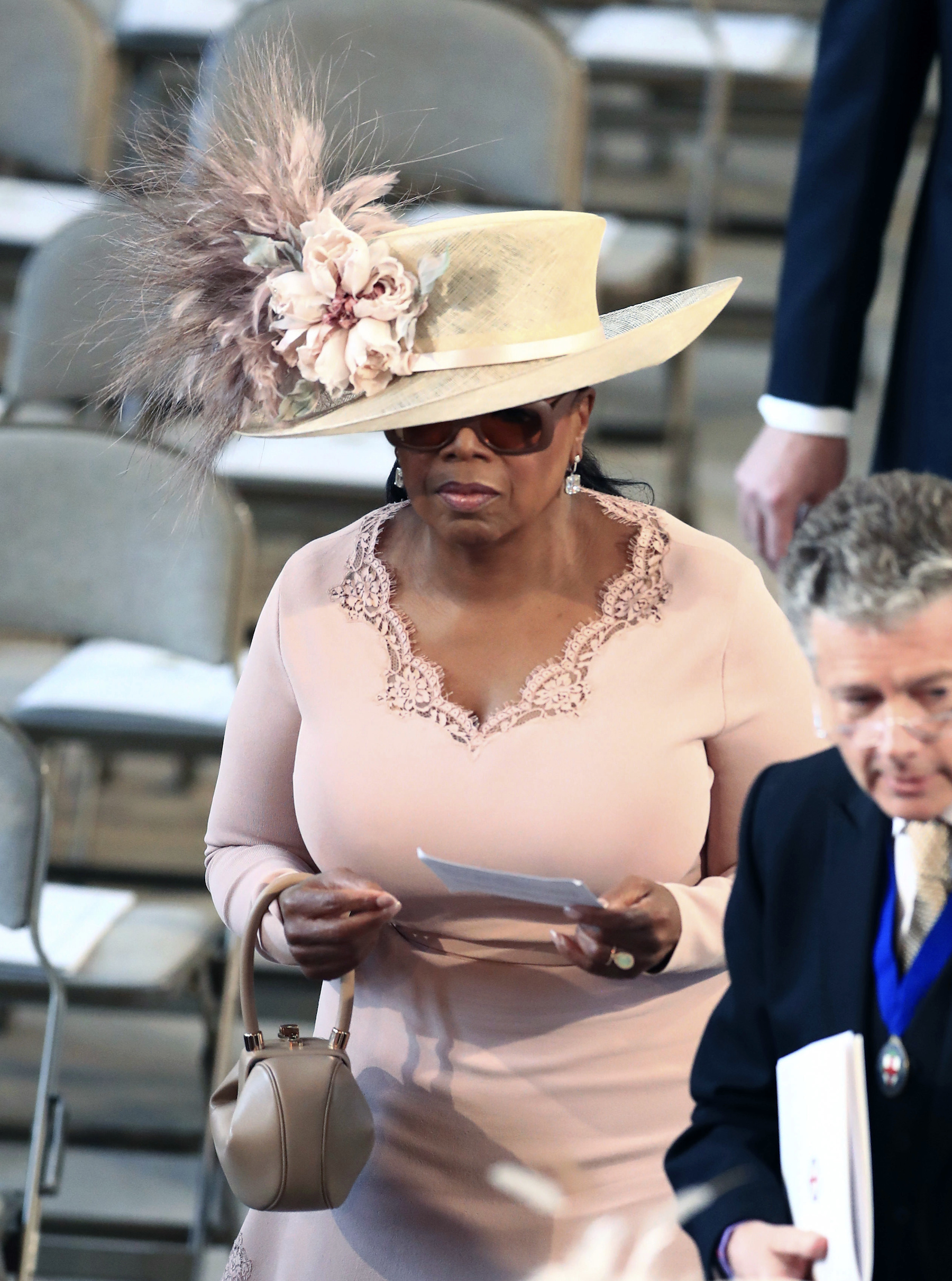 "<div class=""meta image-caption""><div class=""origin-logo origin-image ap""><span>AP</span></div><span class=""caption-text"">Oprah Winfrey arrives in St George's Chapel at Windsor Castle for the wedding of Prince Harry and Meghan Markle. (Danny Lawson/PA Wire)</span></div>"