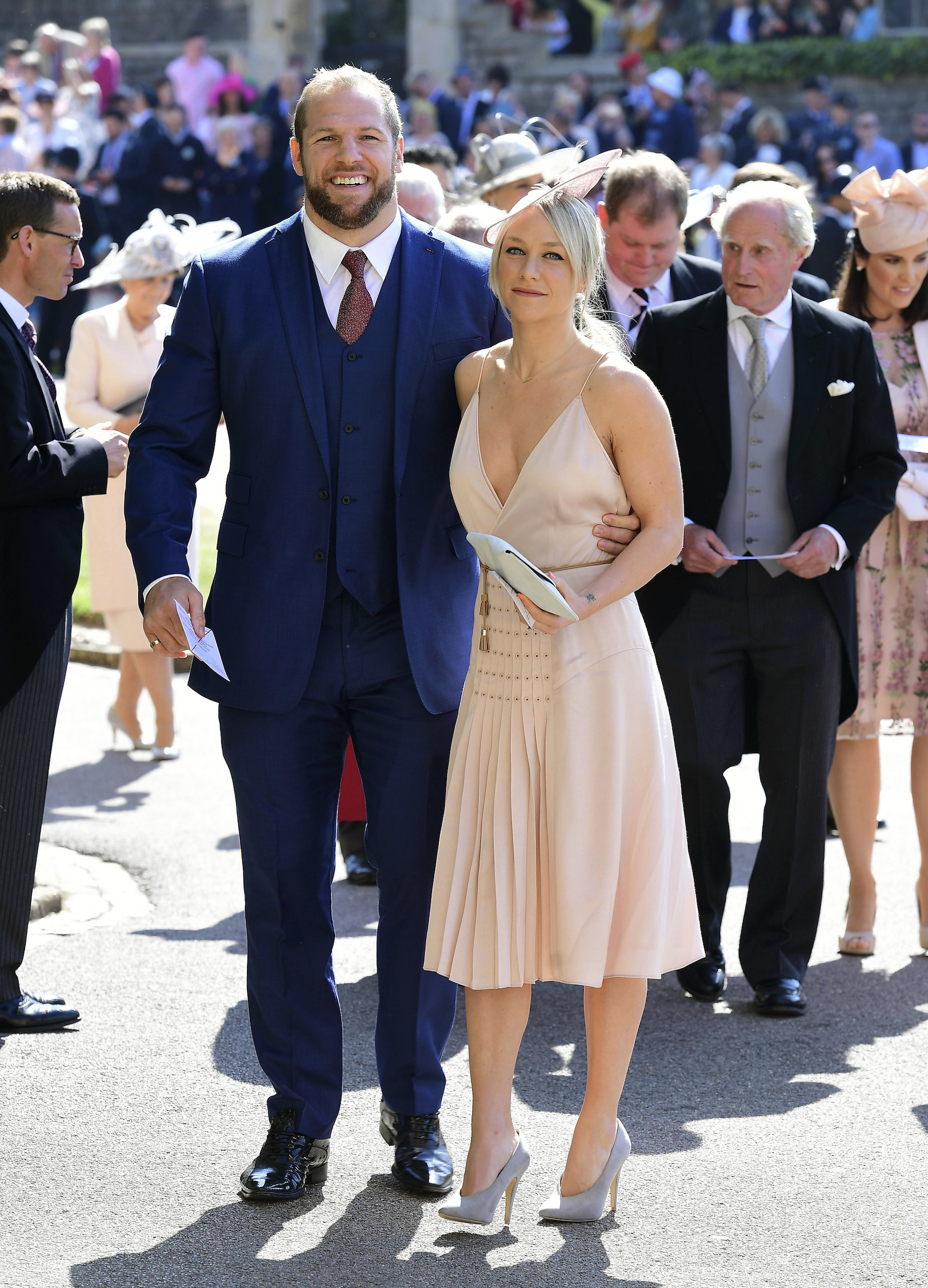 "<div class=""meta image-caption""><div class=""origin-logo origin-image ap""><span>AP</span></div><span class=""caption-text"">James Haskell and Chloe Madeley arrives at St George's Chapel at Windsor Castle for the wedding of Meghan Markle and Prince Harry. (Ian West/PA Wire)</span></div>"