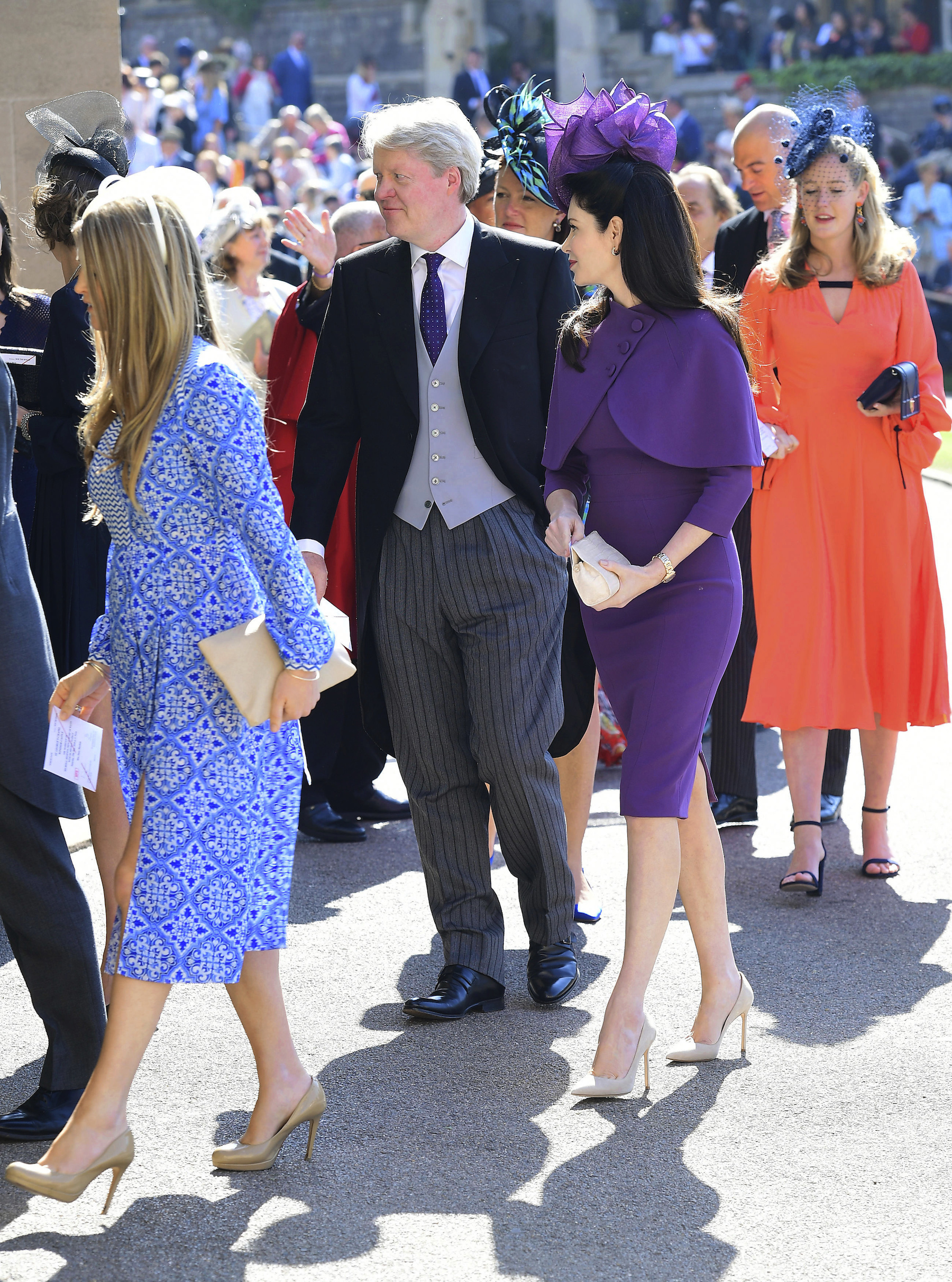 <div class='meta'><div class='origin-logo' data-origin='AP'></div><span class='caption-text' data-credit='Ian West/PA Wire'>Charles Spencer (centre) arrives at St George's Chapel at Windsor Castle for the wedding of Meghan Markle and Prince Harry.</span></div>