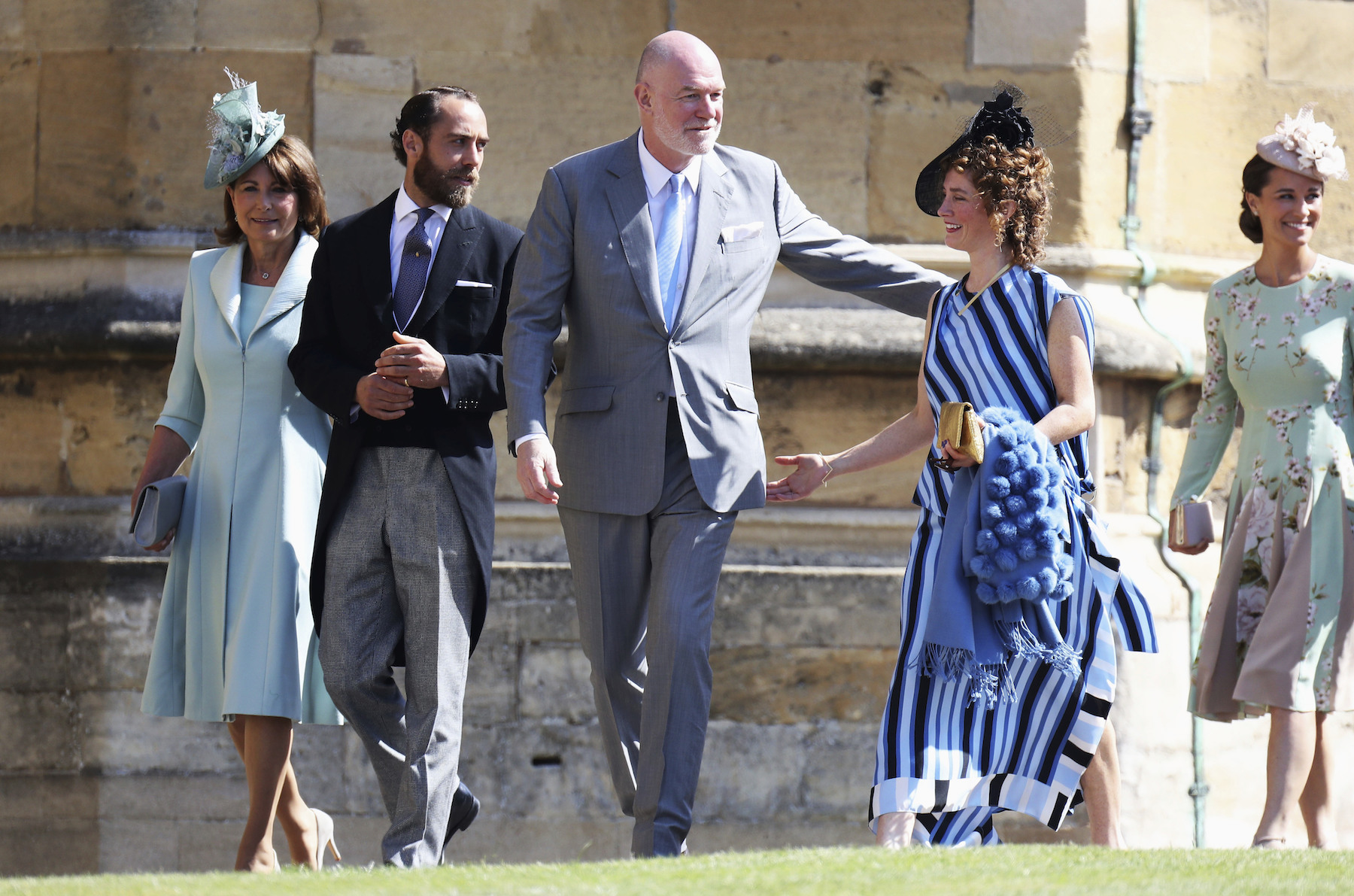 <div class='meta'><div class='origin-logo' data-origin='AP'></div><span class='caption-text' data-credit='Chris Jackson/Getty Images'>Carole, James and Pippa Middleton arrive at the wedding of Prince Harry to Ms. Meghan Markle at St George's Chapel, Windsor Castle.</span></div>