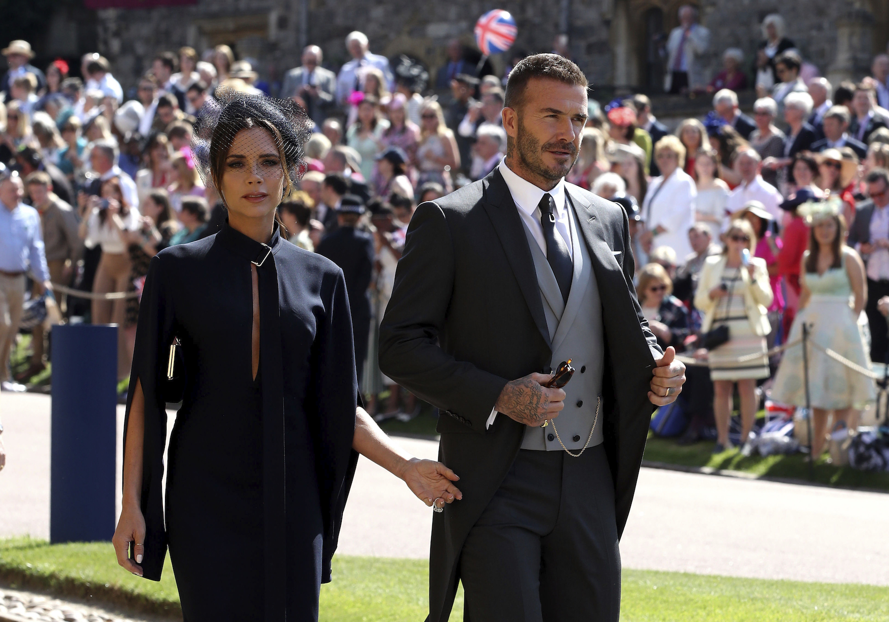 <div class='meta'><div class='origin-logo' data-origin='AP'></div><span class='caption-text' data-credit='Chris Radburn/PA Wire'>David and Victoria Beckham arrive at St George's Chapel at Windsor Castle for the wedding of Meghan Markle and Prince Harry.</span></div>