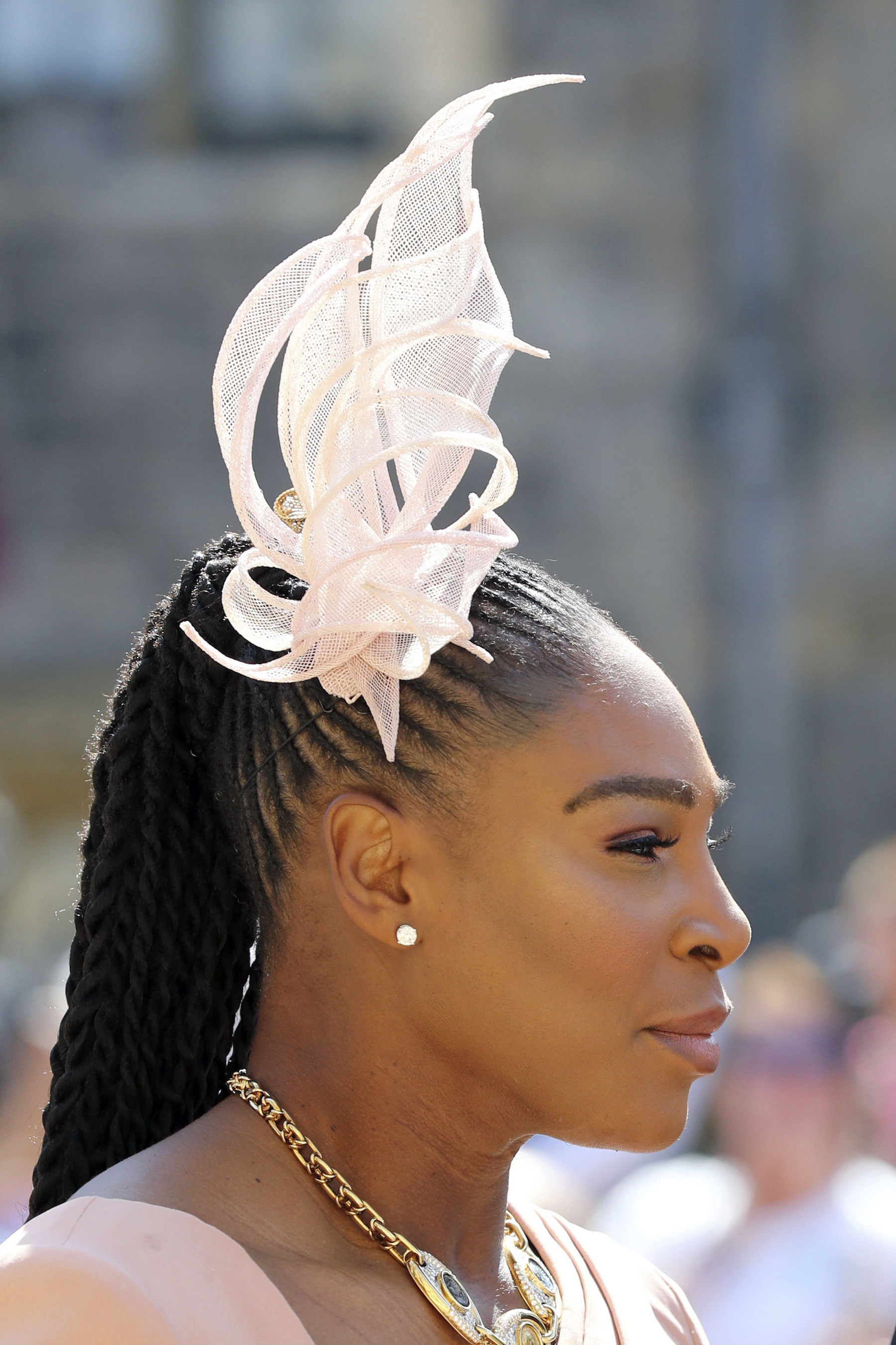 "<div class=""meta image-caption""><div class=""origin-logo origin-image ap""><span>AP</span></div><span class=""caption-text"">Serena Williams arrives at St George's Chapel at Windsor Castle for the wedding of Meghan Markle and Prince Harry. (Gareth Fuller/PA Wire)</span></div>"