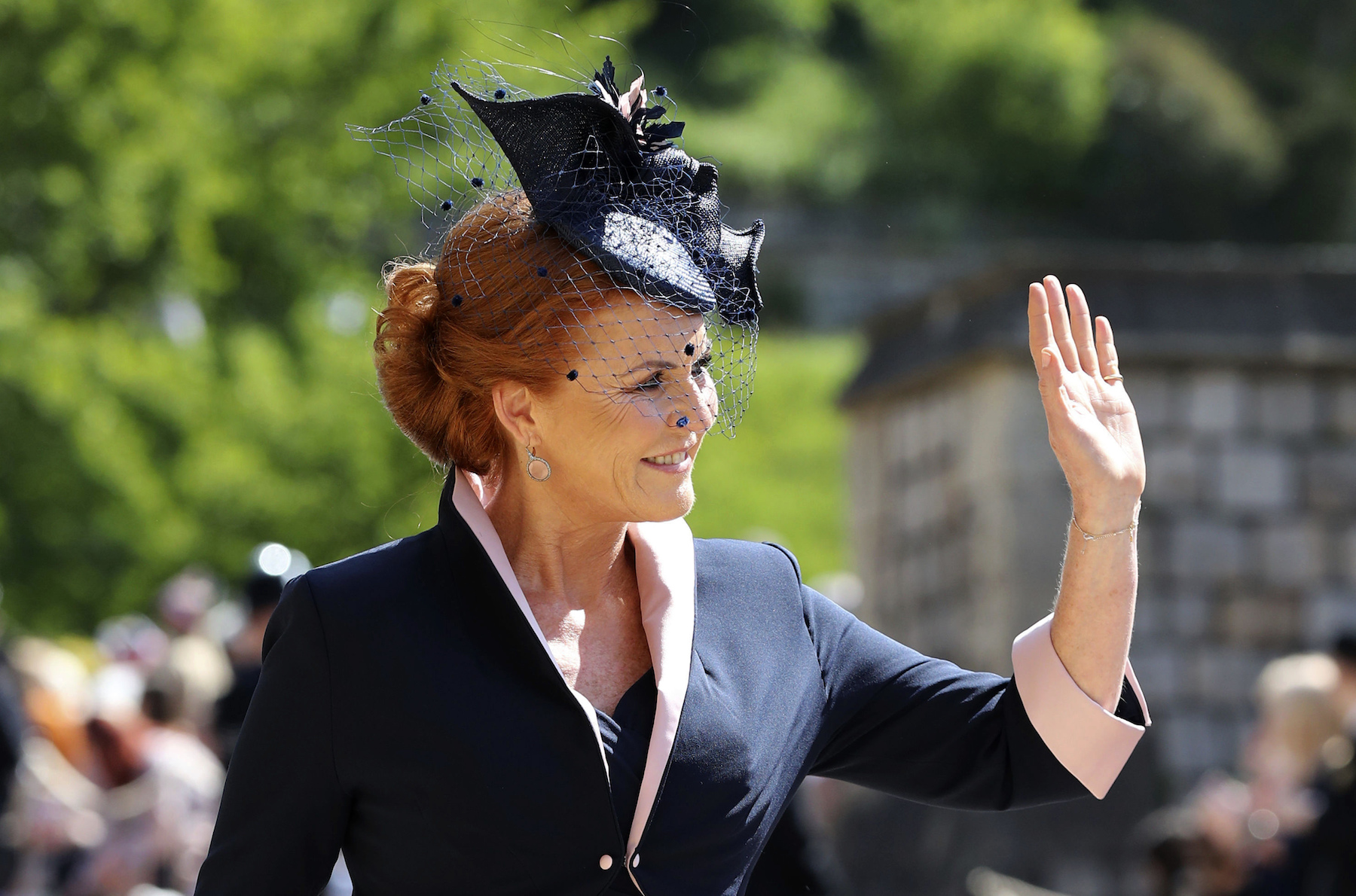 "<div class=""meta image-caption""><div class=""origin-logo origin-image ap""><span>AP</span></div><span class=""caption-text"">The Duchess of York arrives at St George's Chapel at Windsor Castle for the wedding of Meghan Markle and Prince Harry. (Gareth Fuller/PA Wire)</span></div>"