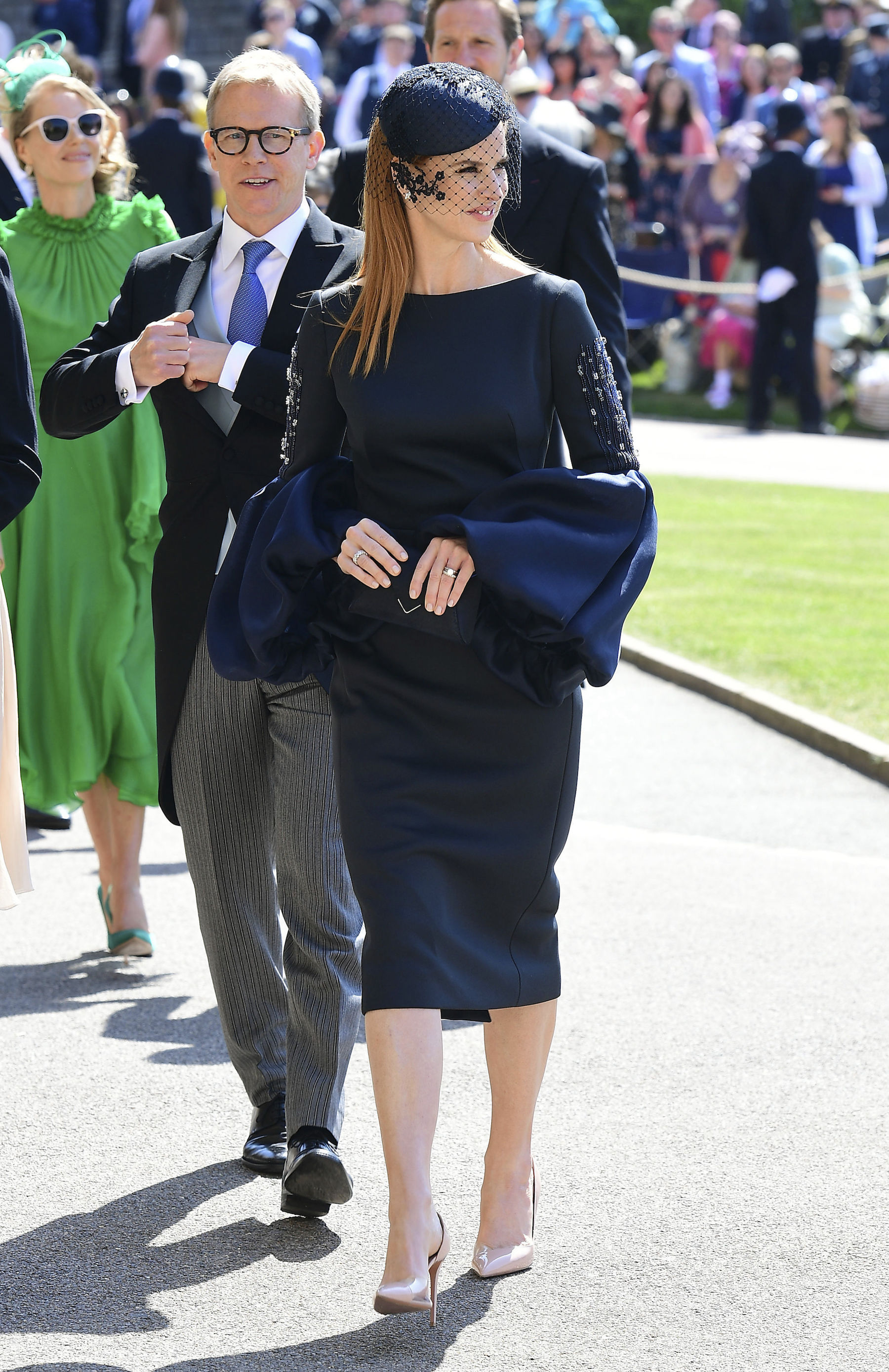 "<div class=""meta image-caption""><div class=""origin-logo origin-image ap""><span>AP</span></div><span class=""caption-text"">Sarah Rafferty arrives for the wedding ceremony of Prince Harry and Meghan Markle at St. George's Chapel in Windsor Castle in Windsor, near London, England, Saturday, May 19, 2018. (Gareth Fuller/PA Wire)</span></div>"
