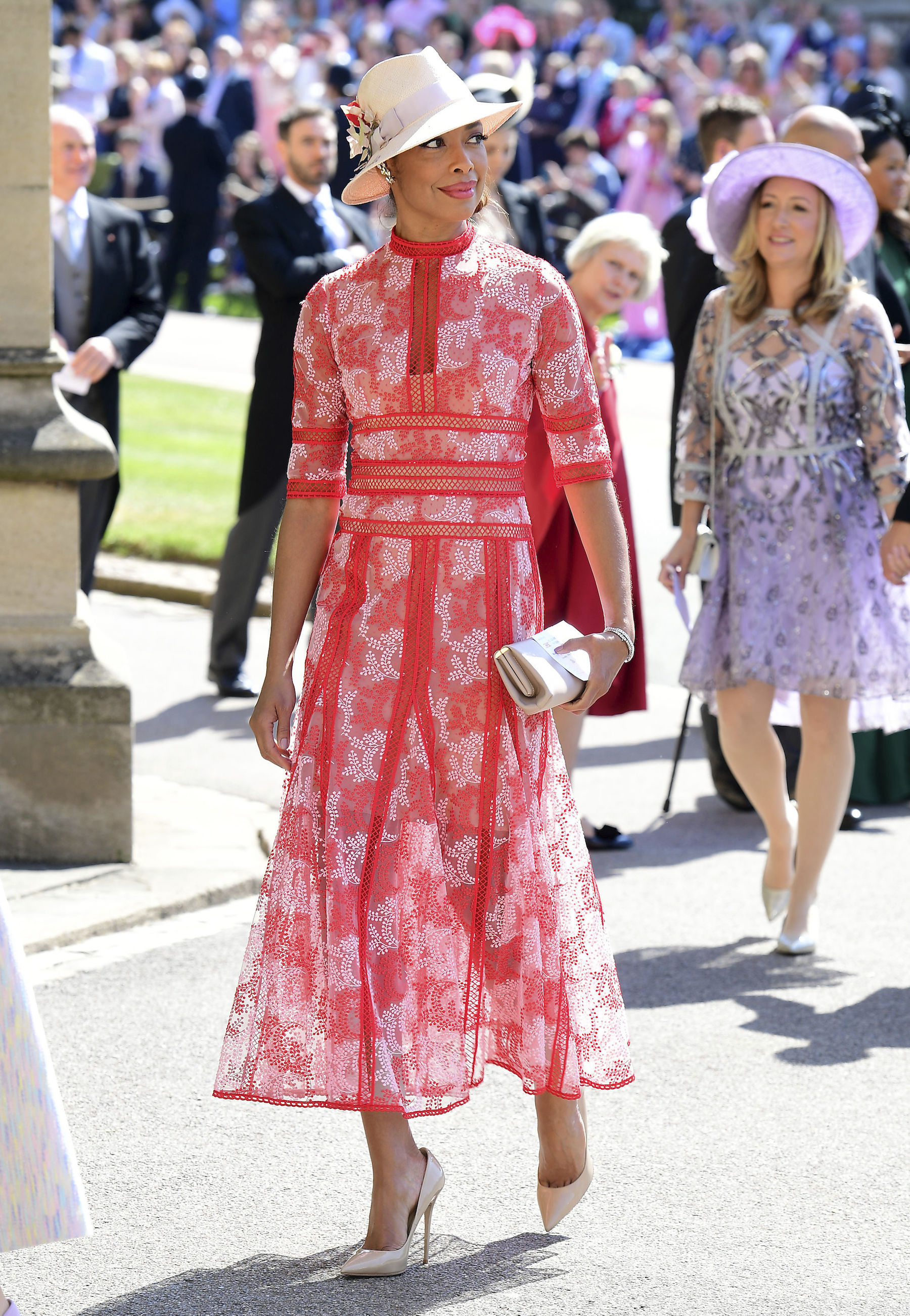 <div class='meta'><div class='origin-logo' data-origin='AP'></div><span class='caption-text' data-credit='Ian West/PA Wire'>Gina Torres arrives at St George's Chapel at Windsor Castle for the wedding of Meghan Markle and Prince Harry.</span></div>