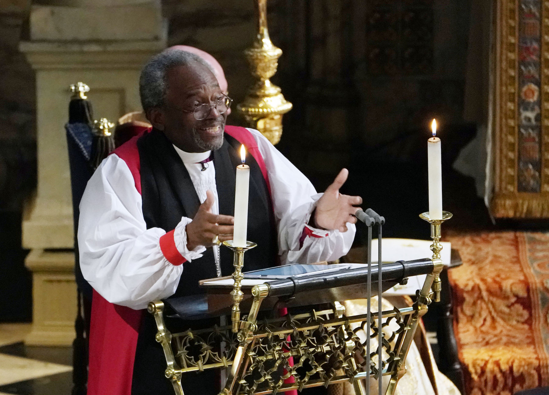 "<div class=""meta image-caption""><div class=""origin-logo origin-image wls""><span>wls</span></div><span class=""caption-text"">The Most Rev Bishop Michael Curry, primate of the Episcopal Church, gives an address during the wedding of Prince Harry and Meghan Markle. (Owen Humphreys/AFP/Getty Images)</span></div>"