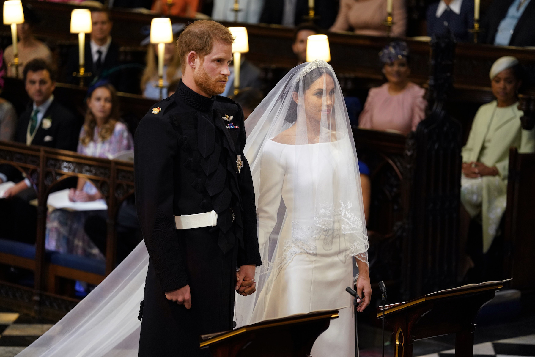 "<div class=""meta image-caption""><div class=""origin-logo origin-image wls""><span>wls</span></div><span class=""caption-text"">Prince Harry and Meghan Markle in St George's Chapel at Windsor Castle for their wedding. (Dominic Lipinsky/PA Wire)</span></div>"
