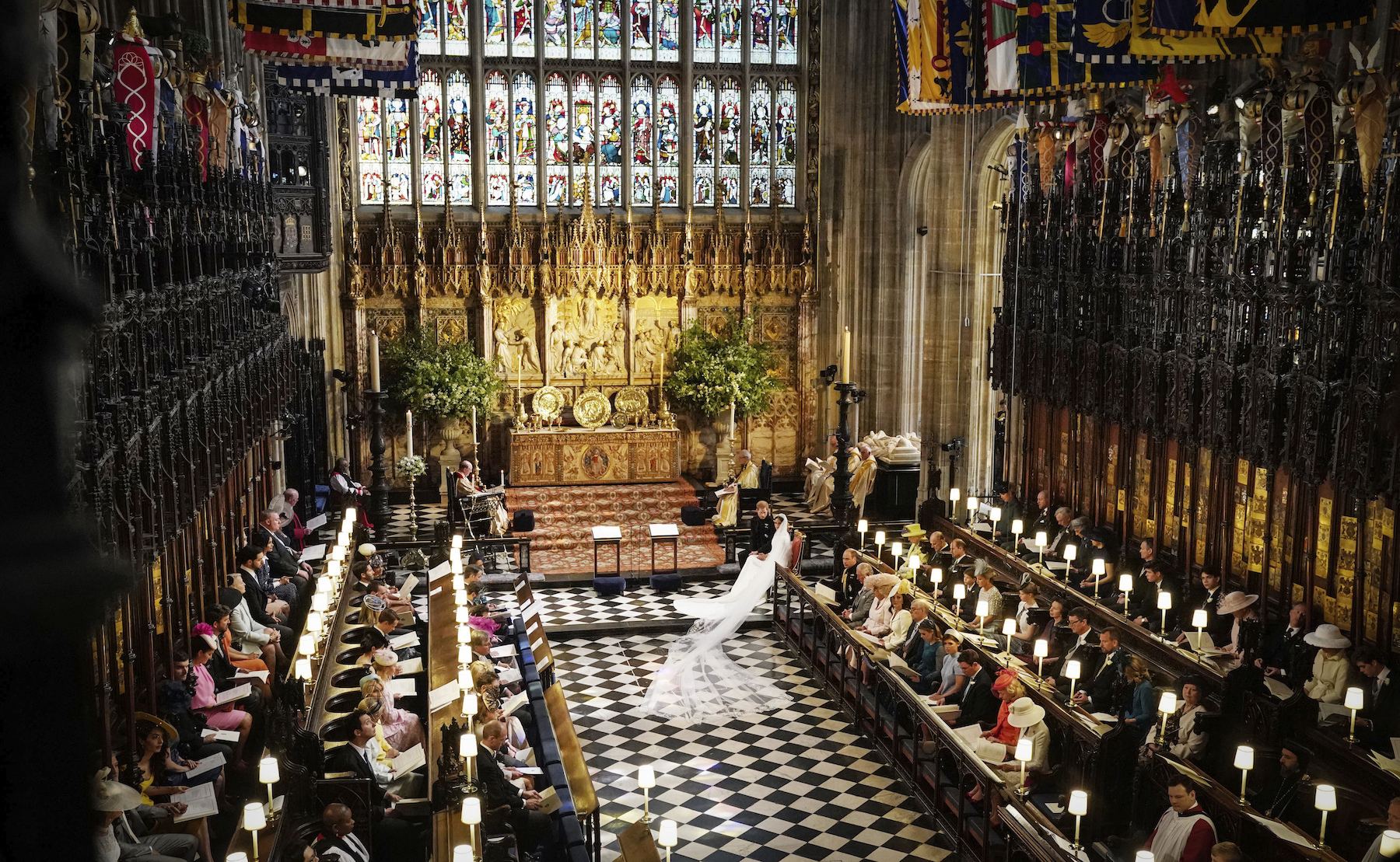 "<div class=""meta image-caption""><div class=""origin-logo origin-image wls""><span>wls</span></div><span class=""caption-text"">Prince Harry and Meghan Markle in St George's Chapel at Windsor Castle during their wedding service. (Owen Humphreys/PA Wire)</span></div>"