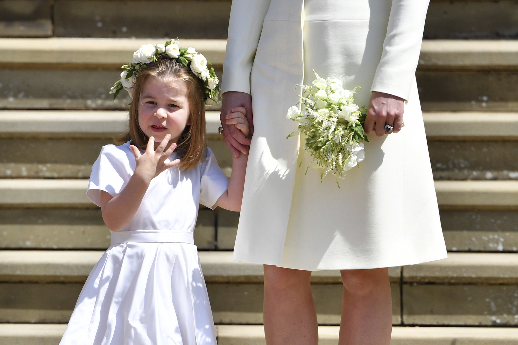 <div class='meta'><div class='origin-logo' data-origin='AP'></div><span class='caption-text' data-credit='Ben Stansall/pool photo via AP'>Britain's Princess Charlotte holds the hand of her mother Kate, Duchess of Cambridge after the wedding ceremony of Prince Harry and Meghan Markle .</span></div>