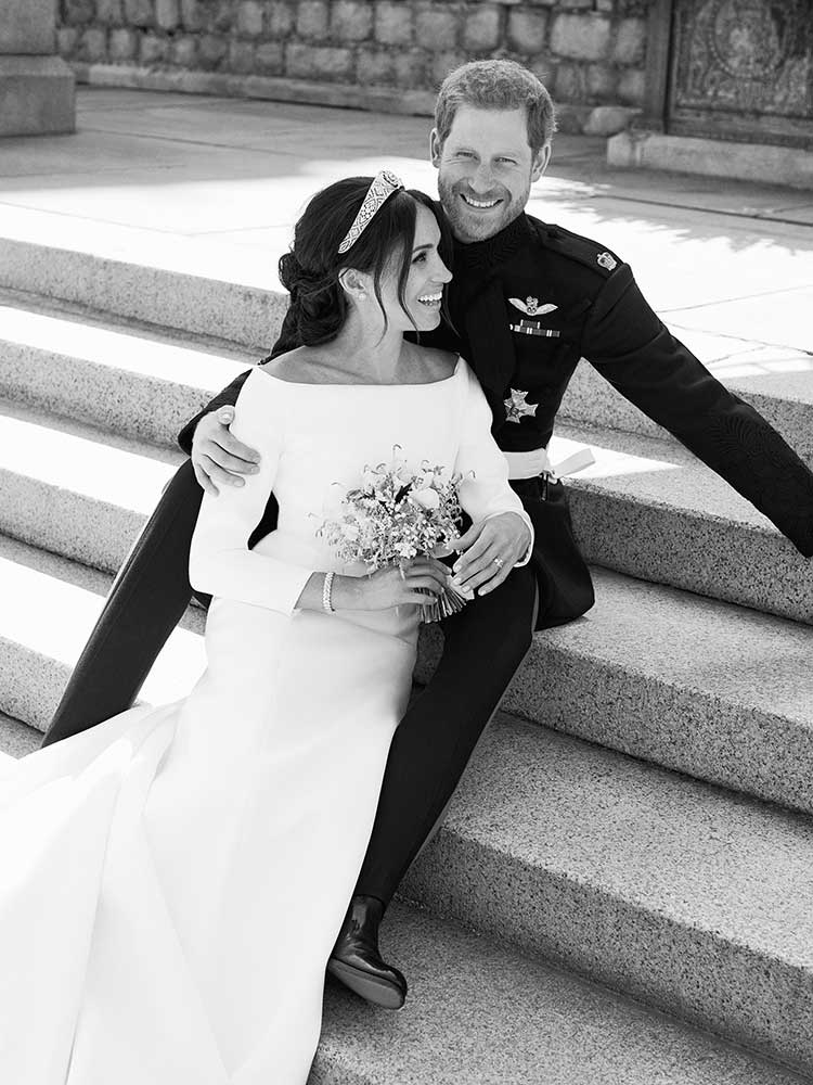 "<div class=""meta image-caption""><div class=""origin-logo origin-image none""><span>none</span></div><span class=""caption-text"">This photo released by Kensington Palace on Monday May 21, 2018, shows an official wedding photo of Britain's Prince Harry and Meghan Markle, on the East Terrace of Windsor Castle (Alexi Lubomirski/Kensington Palace via AP)</span></div>"