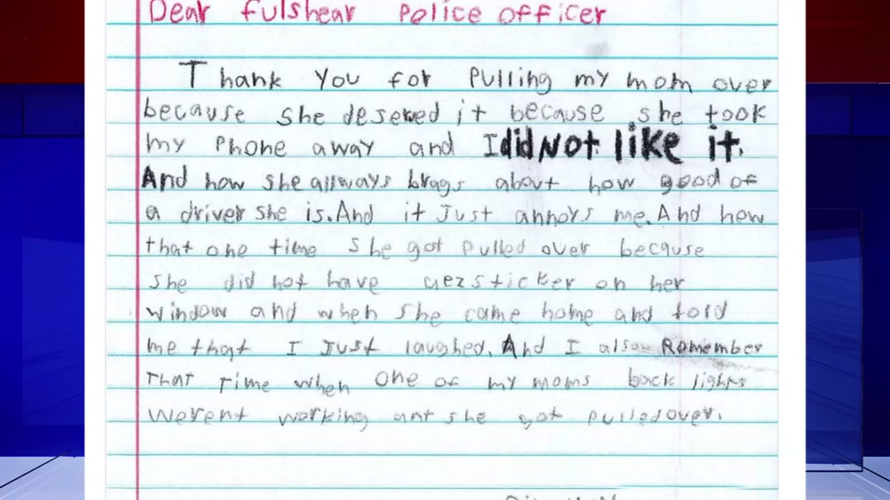 Kid Writes Letter Thanking Police Officers For Giving Her Mother A