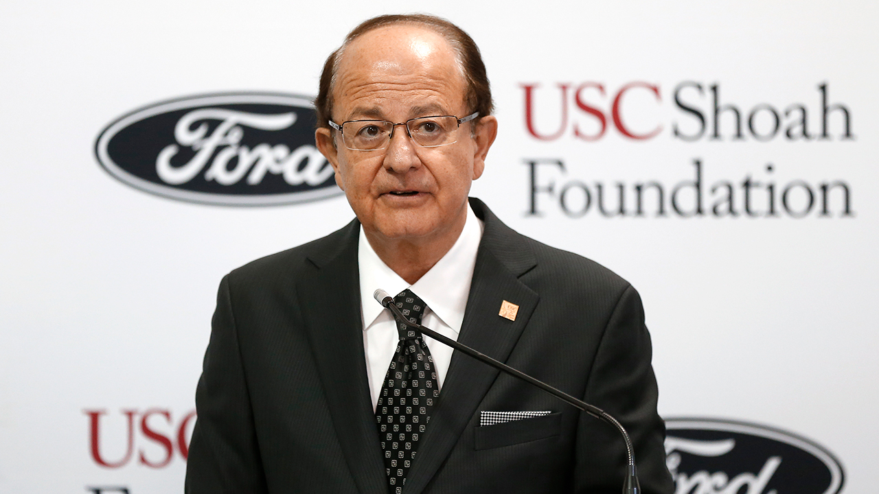 University of Southern California President C. L. Max Nikias speaks Thursday, Sept. 10, 2015, in Dearborn, Mich.