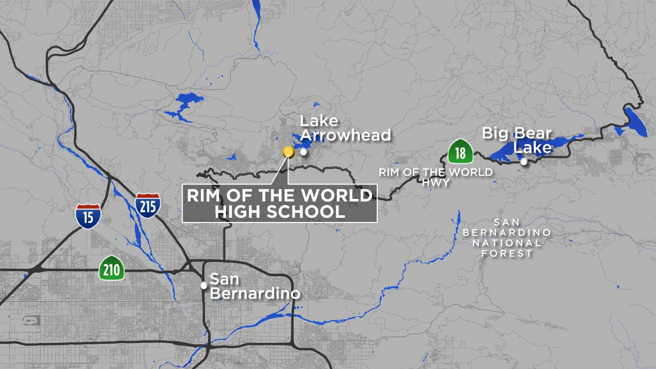 A map indicates the location of Rim of the World High School in Lake Arrowhead.