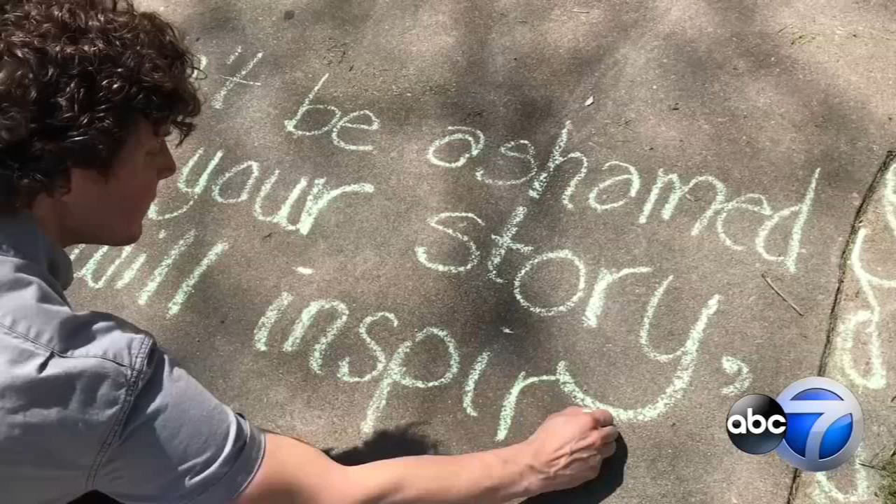 Evanston students cover sidewalk with mental health tips
