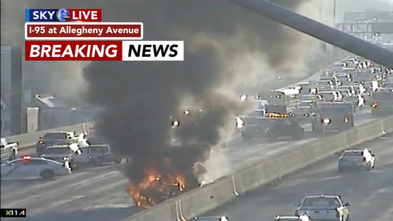 all lanes reopen after large car fire on interstate 95 in