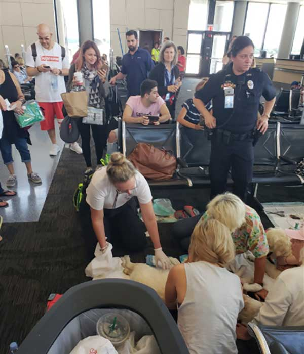 <div class='meta'><div class='origin-logo' data-origin='none'></div><span class='caption-text' data-credit='Twitter / Tampa Fire Rescue'>A passenger's service dog unexpectedly gave birth to puppies at Tampa International Airport on Friday, May 25, 2018.</span></div>