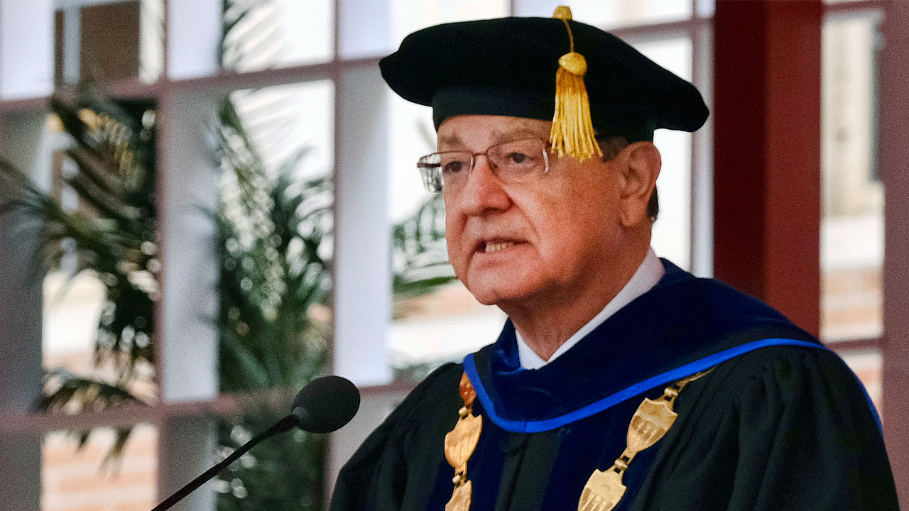 In this May 12, 2017 photo USC President C.L. Max Nikias attends the University Of Southern California's Commencement Ceremony at Alumni Park at USC in Los Angeles.