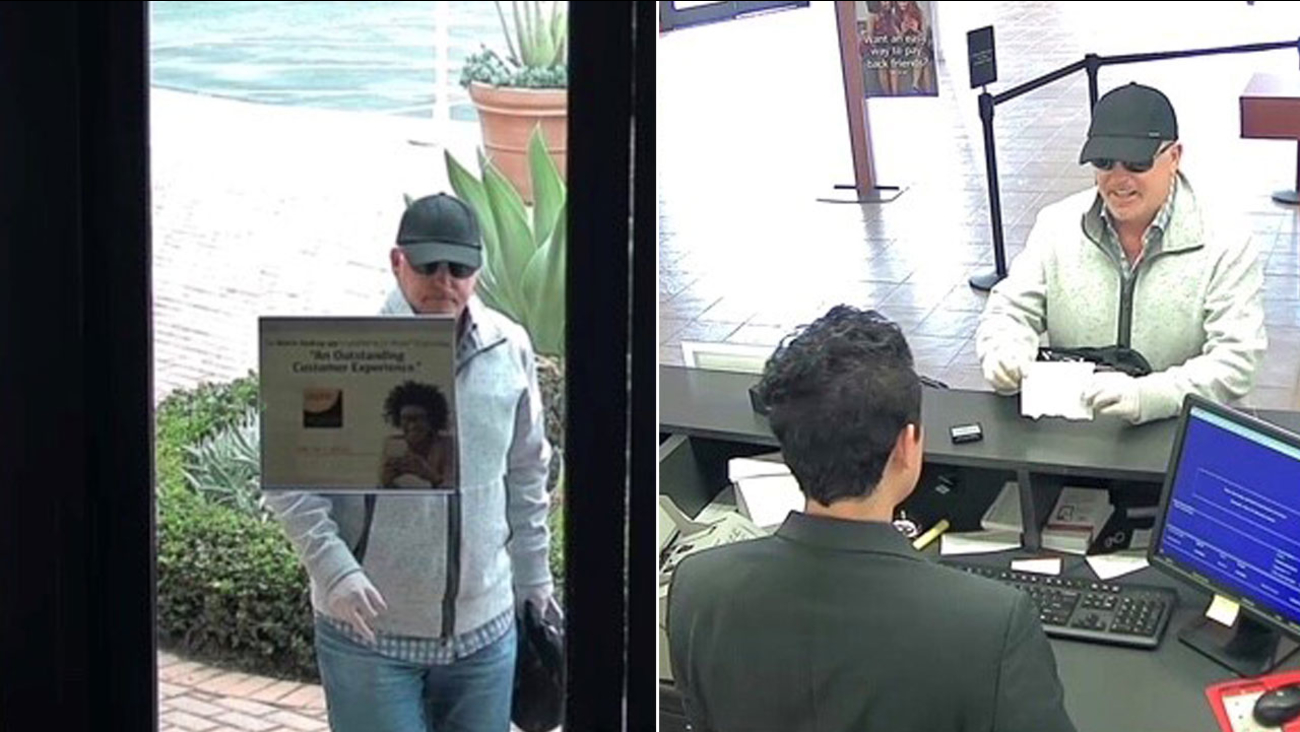 A suspected bank robber is shown from surveillance footage taken at a Newport Beach Bank of America.