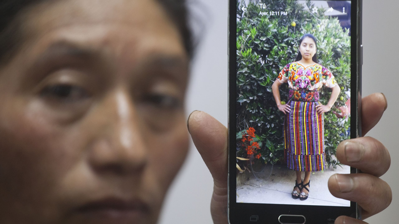 Dominga Vicente shows a photo of her niece, 20-year-old Claudia Patricia Gomez Gonzalez, who was allegedly killed by an agent of the U.S. Border Patrol in Texas on May 23.