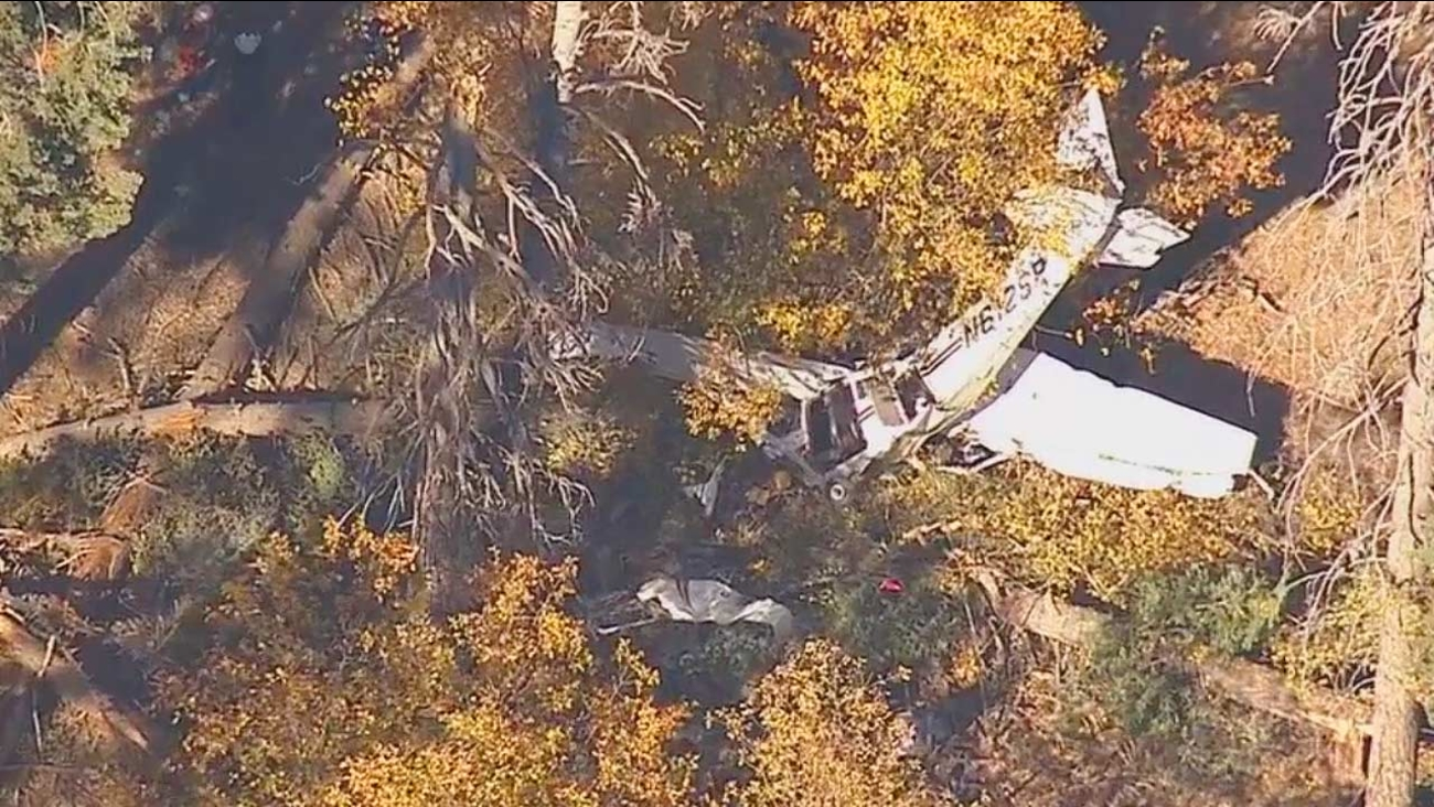 A plane crashed near Big Bear Lake shortly before 2 p.m. Thursday, October 16, 2014.
