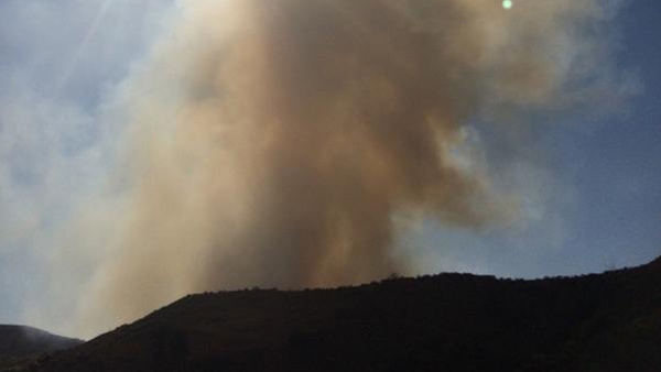 Smoke from a brush fire in Chino Hills is seen in this photo from ABC7 viewer Dave Roberts on Thursday, Oct. 16, 2014.