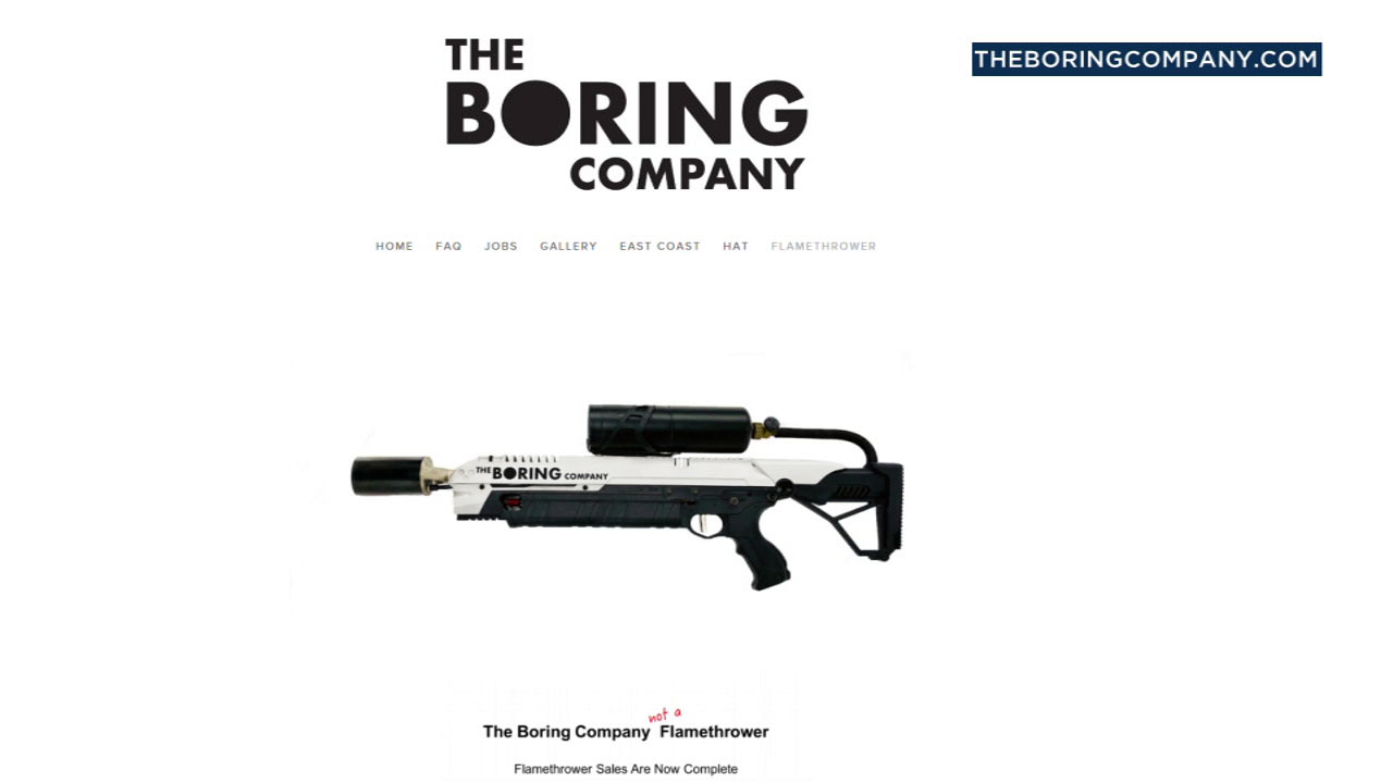 "The Boring Company's ""not a"" flamethrower is shown on its website."