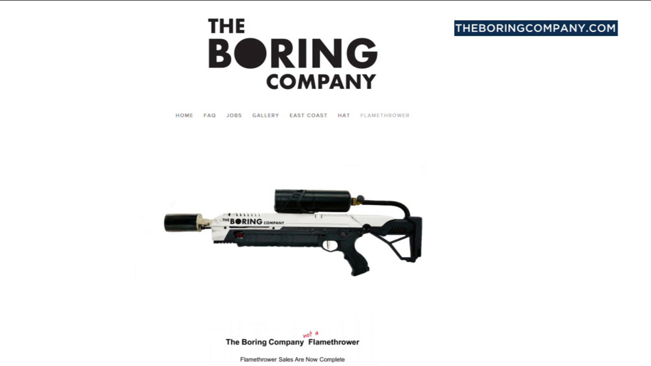 """The Boring Company's """"not a"""" flamethrower is shown on its website."""