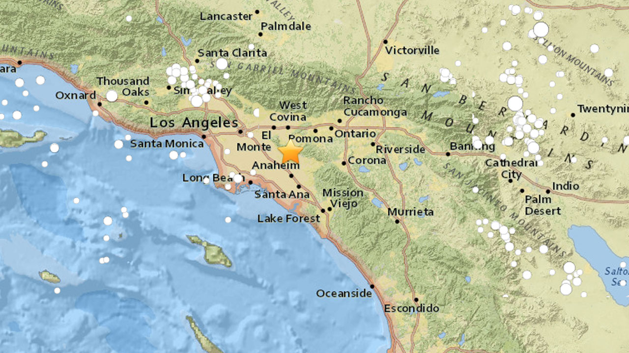 A map from the U.S. Geological Survey shows the epicenter of a 2.7-magnitude earthquake in the La Habra area.