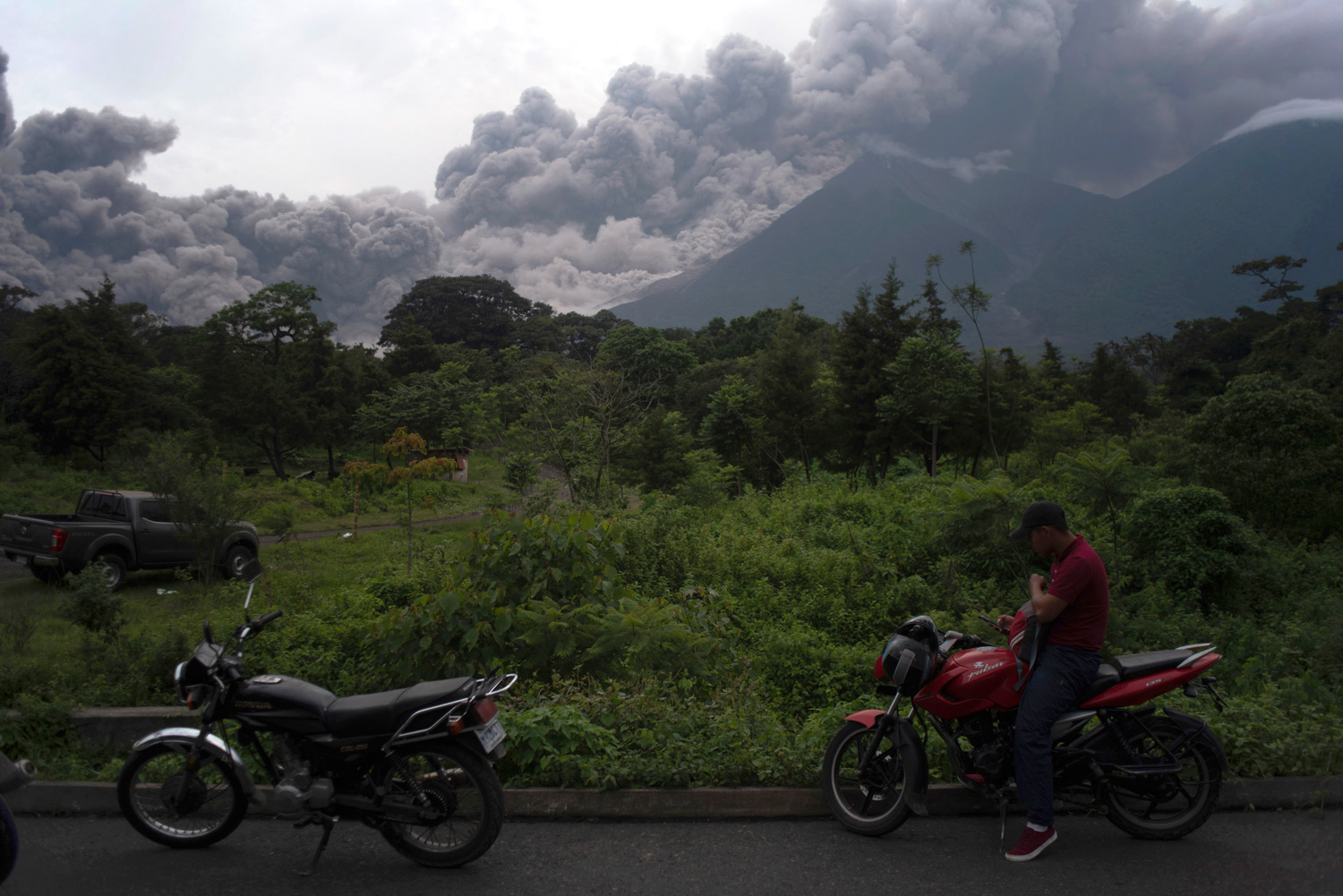 "<div class=""meta image-caption""><div class=""origin-logo origin-image none""><span>none</span></div><span class=""caption-text"">Volcan de Fuego, or Volcano of Fire, blows outs a thick cloud of ash, as seen from Alotenango, Guatemala, Sunday, June 3, 2018. (Santiago Billy/AP Photo)</span></div>"