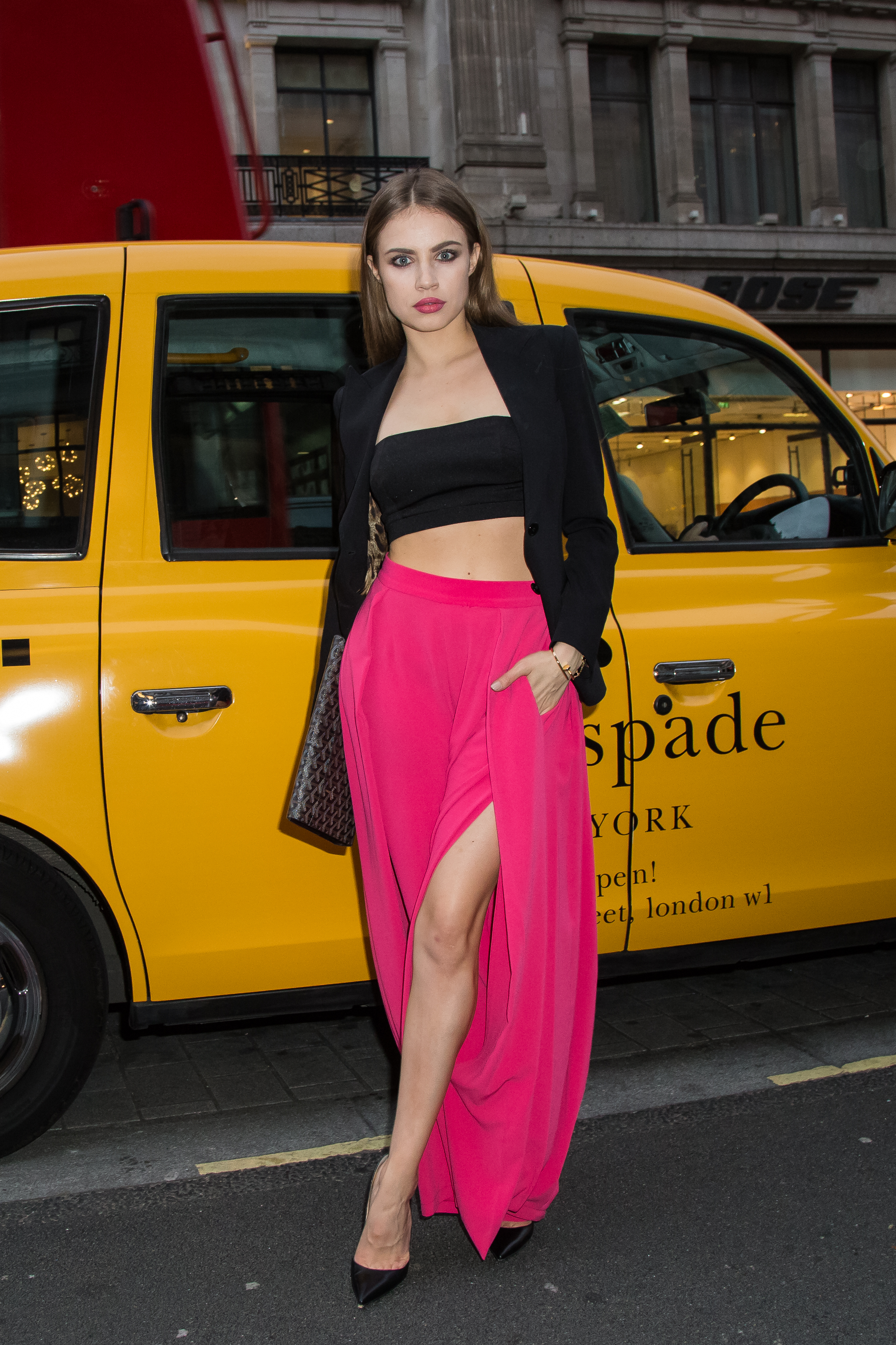 "<div class=""meta image-caption""><div class=""origin-logo origin-image ap""><span>AP</span></div><span class=""caption-text"">Xenia Tchoumitcheva poses for photographers upon arrival at the Kate Spade New York flagship store opening party in London, Thursday, April 21, 2016. (Vianney Le Caer/Invision/AP)</span></div>"