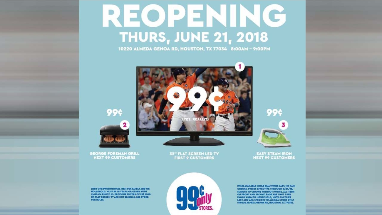 99 CENTS FOR A TV Houston Store Offering Television For Low Price During Re Grand Opening Event