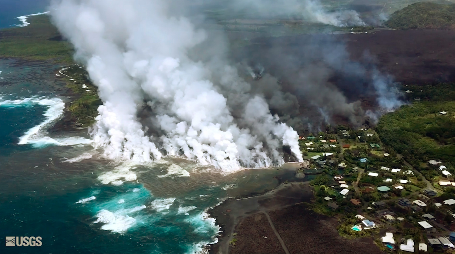 <div class='meta'><div class='origin-logo' data-origin='none'></div><span class='caption-text' data-credit='U.S. Geological Survey via AP'>Lava from a fissure flowing into the ocean at Kapoho Bay at Kapoho on the island of Hawaii.</span></div>