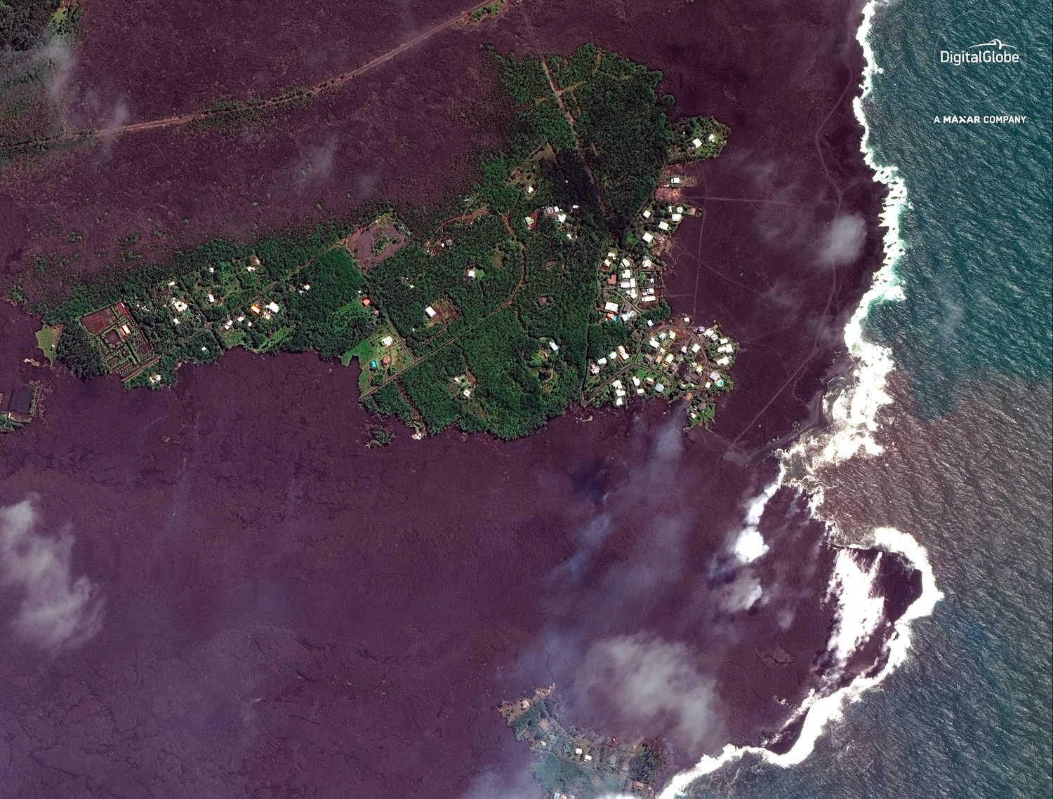 "<div class=""meta image-caption""><div class=""origin-logo origin-image none""><span>none</span></div><span class=""caption-text"">This satellite image provided by Digital Globe captured June 5, 2018, shows lava flows on most of Kapoho Bay in Hawaii. (Satellite Image ©2018 DigitalGlobe, a Maxar company via A)</span></div>"