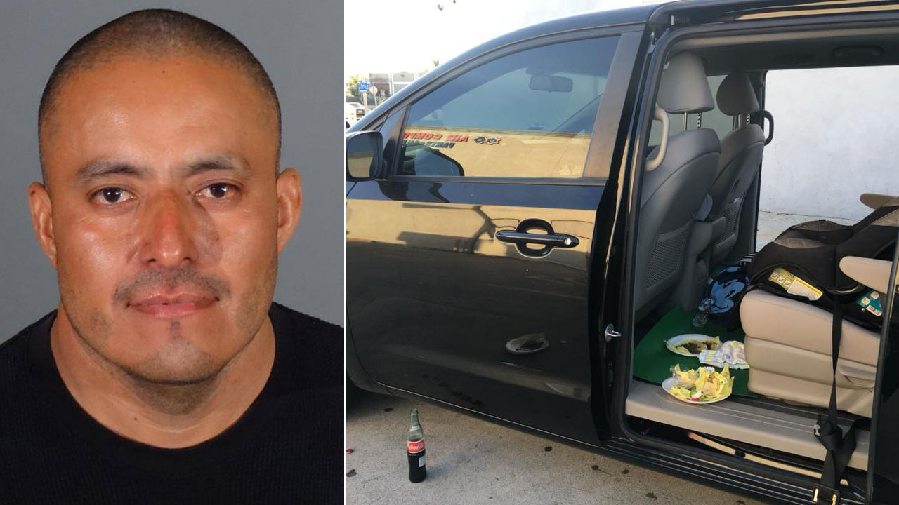 Juan Rodriguez is shown in a mugshot alongside the minivan and tacos belonging to a family of six he terrorized in the City of Industry on Sunday, June 10, 2018.