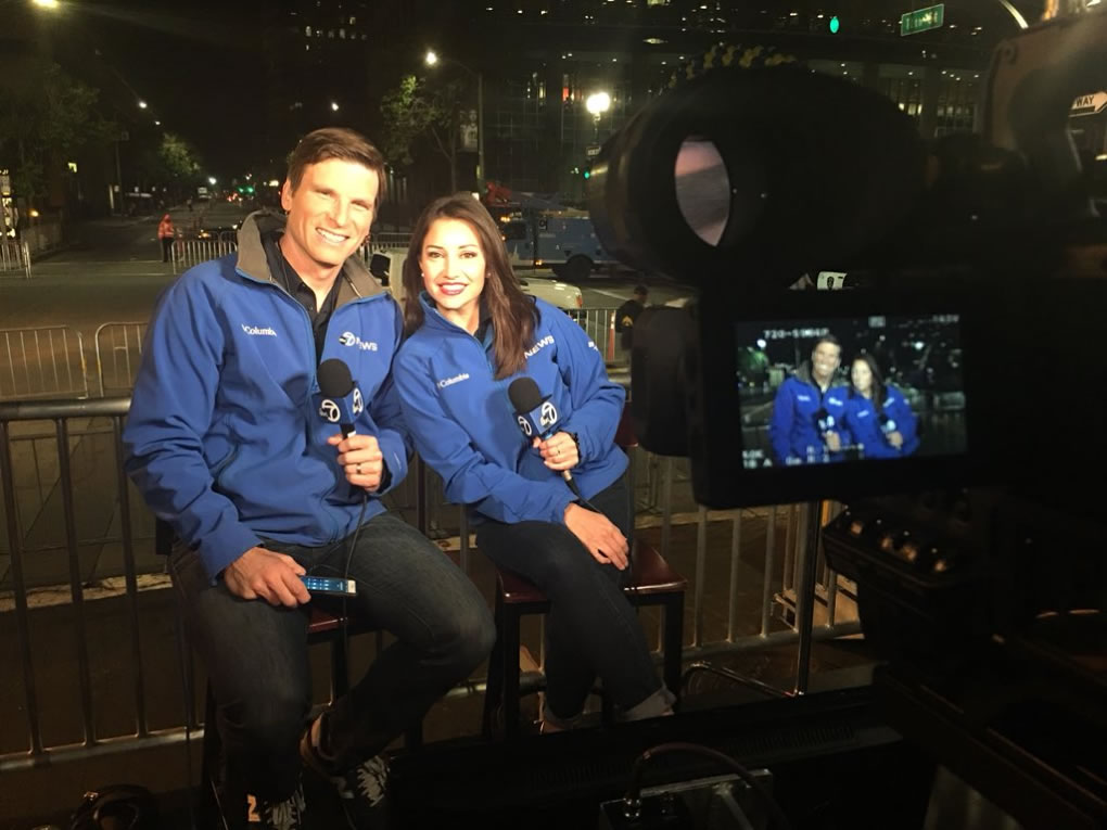 <div class='meta'><div class='origin-logo' data-origin='none'></div><span class='caption-text' data-credit='KGO-TV'>ABC7's Matt Keller and Jessica Castro prepare for the Warriors parade in Oakland, Calif. on Tuesday, June 12, 2018.</span></div>
