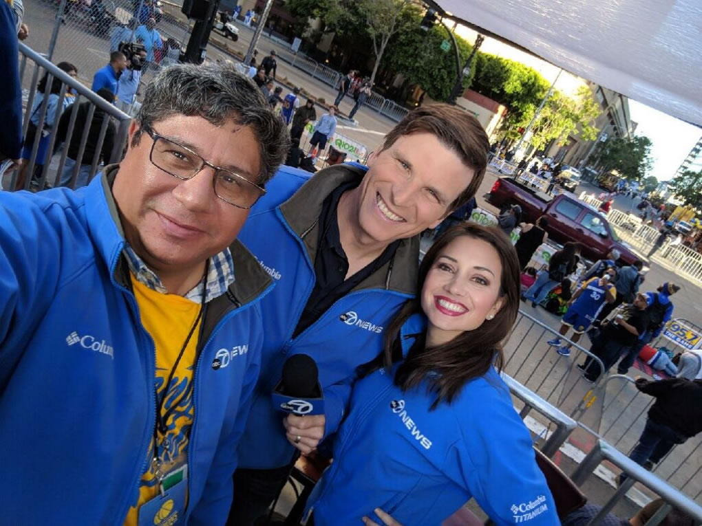 <div class='meta'><div class='origin-logo' data-origin='none'></div><span class='caption-text' data-credit='KGO-TV'>ABC7's Dave Corona, Matt Keller and Jessica Castro prepare for the Warriors parade in Oakland, Calif. on Tuesday, June 12, 2018.</span></div>