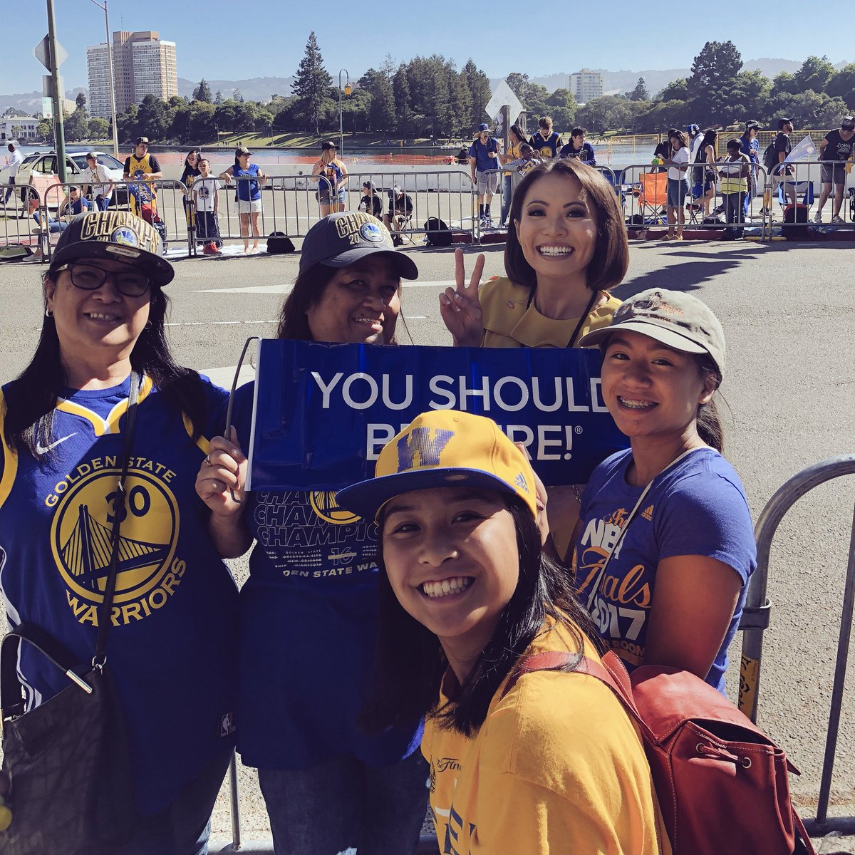 <div class='meta'><div class='origin-logo' data-origin='none'></div><span class='caption-text' data-credit='KGO-TV'>These members of Dub Nation absolutely love Klay Thompson! They're showing off their spirit at the Warriors parade on Tuesday, June 12, 2018 in Oakland, Calif.</span></div>
