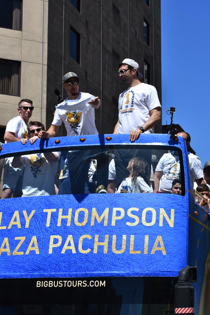 <div class='meta'><div class='origin-logo' data-origin='none'></div><span class='caption-text' data-credit='KGO-TV'>Klay Thompson rides in a float during the Warriors parade on Tuesday, June 12, 2018 in Oakland, Calif.</span></div>